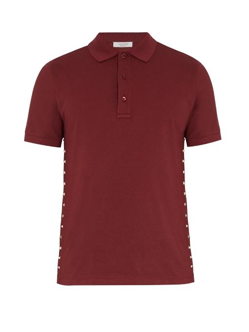 Valentino Rockstud Untitled #16 Cotton Polo Shirt In Burgundy