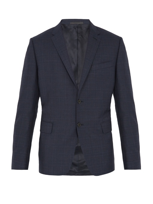 Valentino Single-breasted Checked Wool Blazer In Navy