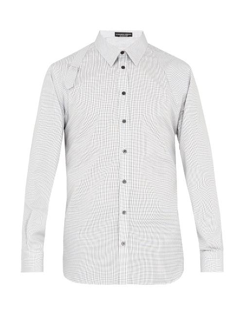 Alexander Mcqueen Harness Micro-checked Cotton-poplin Shirt In White Multi