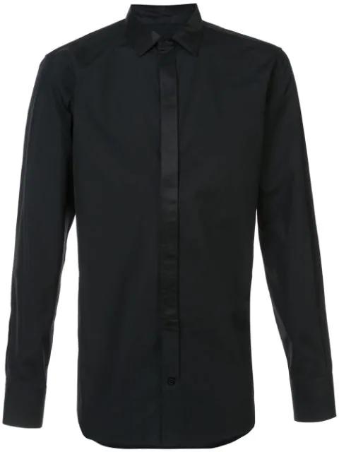 Alexander Mcqueen Contrast-trim Button-cuff Cotton Shirt In Black