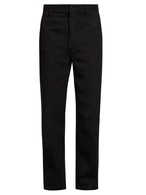 Burberry Cotton-twill Wide-leg Trousers In Black