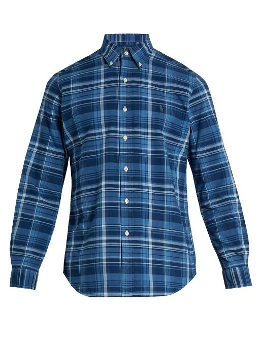 Polo Ralph Lauren Logo-embroidered Checked Cotton Shirt In Blue Multi