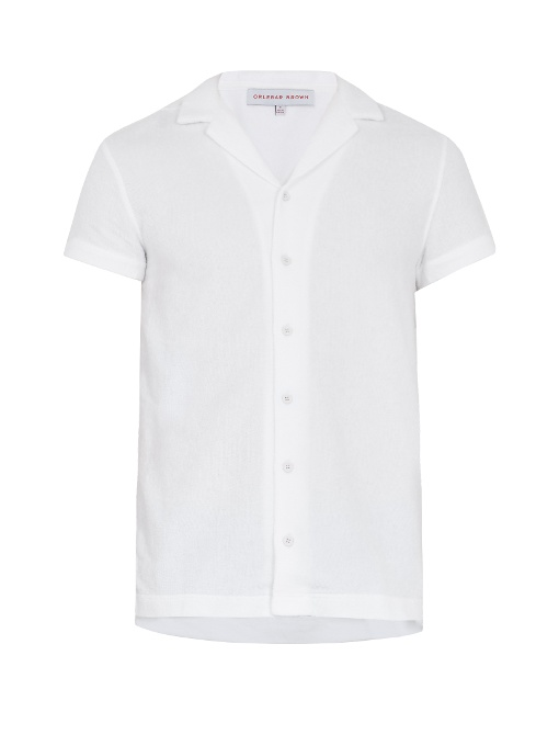 Orlebar Brown Travis French Terry-towelling Short-sleeved Shirt In White