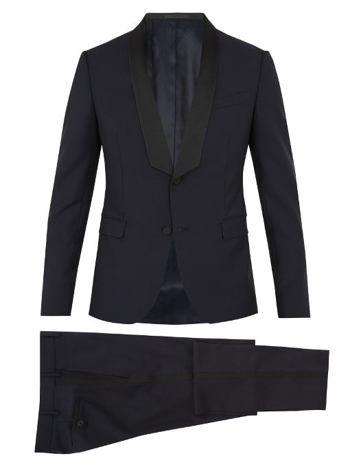 Valentino Shawl-collar Wool And Mohair-blend Tuxedo In Navy