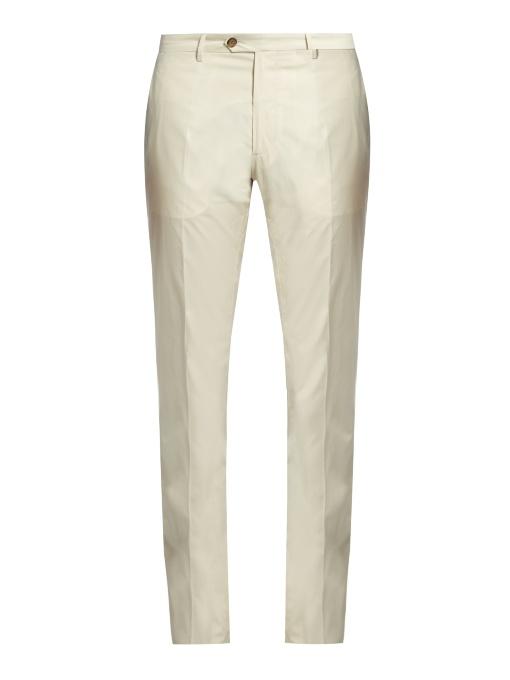 Etro Straight-leg Cotton-blend Chino Trousers In Cream