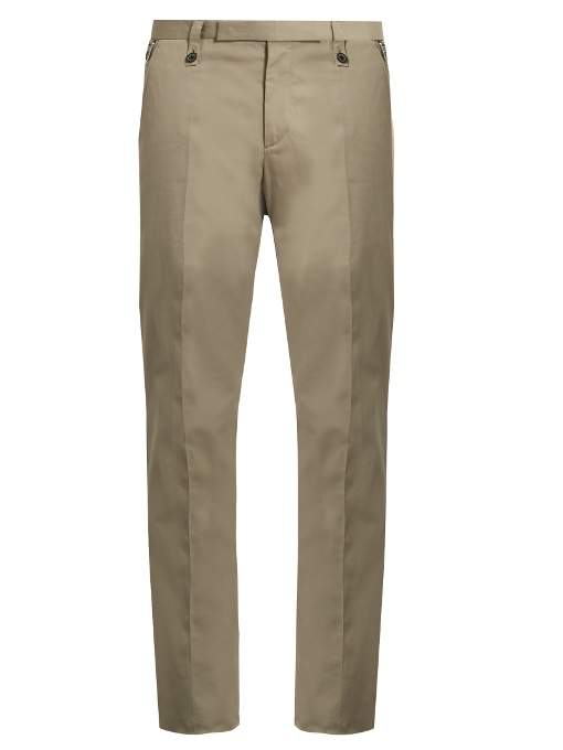 Lanvin Regular-fit Cotton Chino Trousers In Grey Stripe