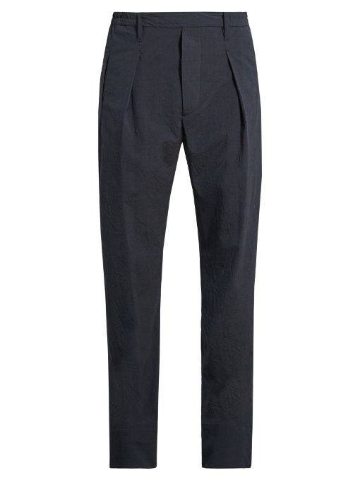 Lemaire Pleated Straight-leg Wool-blend Trousers In Navy