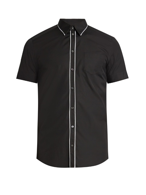 Dolce & Gabbana Contrast-piping Short-sleeved Cotton Shirt In Black