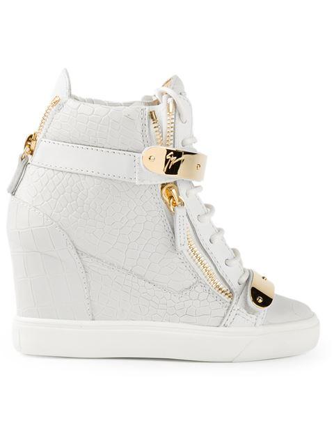2c481c56b330 Giuseppe Zanotti Embossed Double-Strap Wedge Sneaker In Light Grey ...