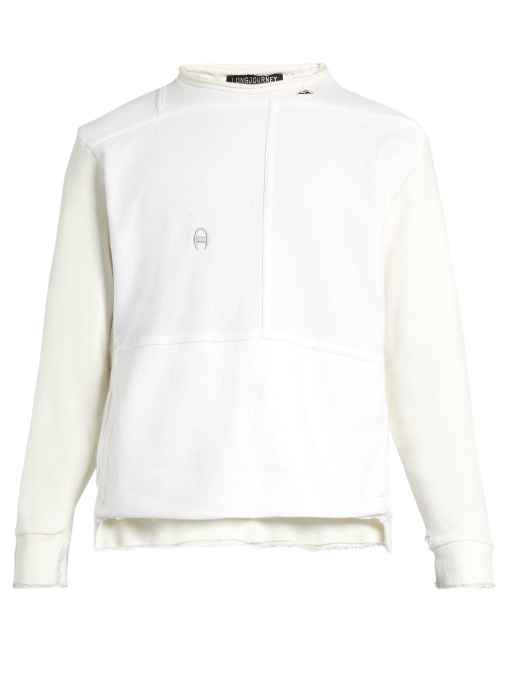 Longjourney Nash Distressed-edge Cotton Sweatshirt In White