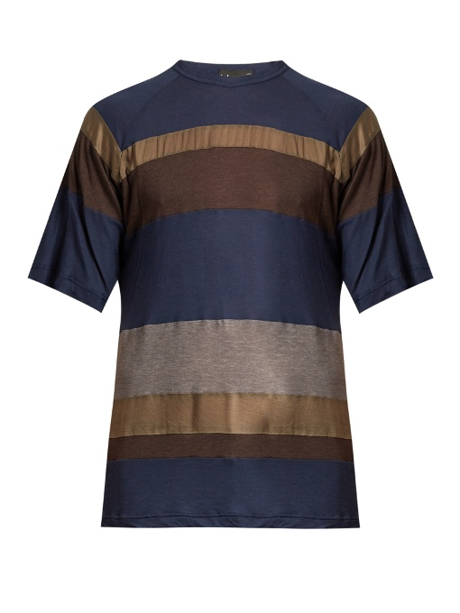 Kolor Contrast-panel Cotton-blend T-shirt In Blue Multi