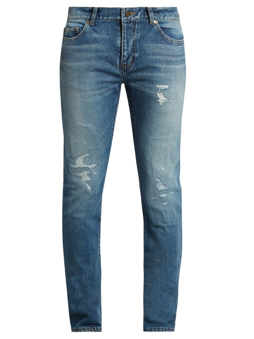 Saint Laurent Embroidered-back Distressed Skinny Jeans In Colour: Washed-blue