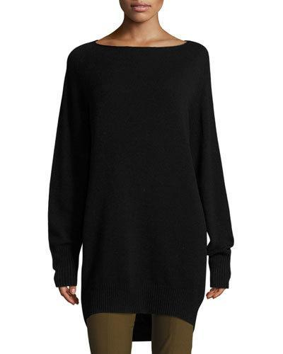Vince Boatneck Cashmere & Wool Tunic In Black