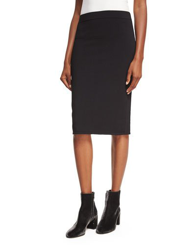 Vince Fitted Jersey Pencil Skirt In Black