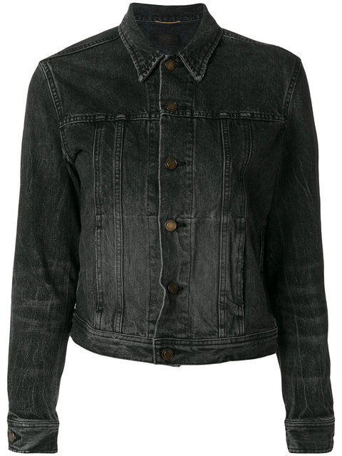 Saint Laurent Black Denim Heart & Lightning Bolt Jacket