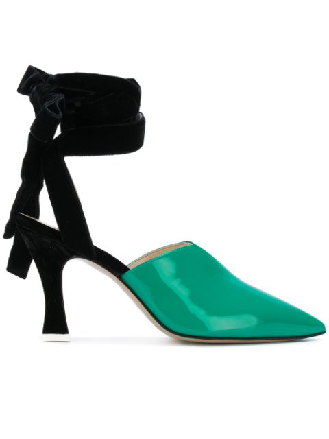 Attico Olivia Patent-leather And Velvet Pumps In Green
