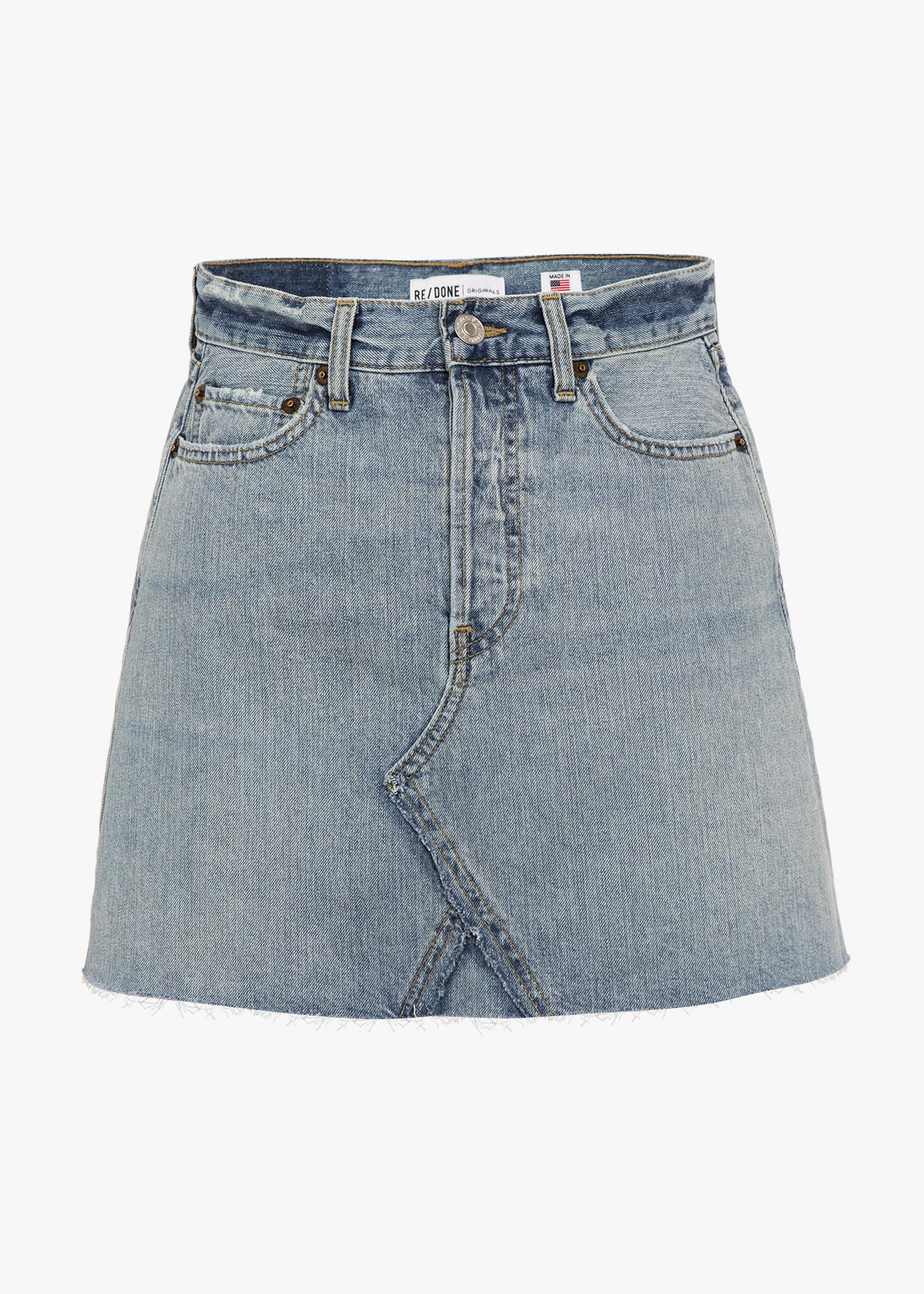 Re/done + Levi's Distressed Denim Mini Skirt In Ultra Light