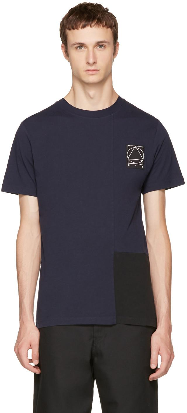 Mcq By Alexander Mcqueen Indigo & Black Colorblock Glyph Logo T-shirt In Violet