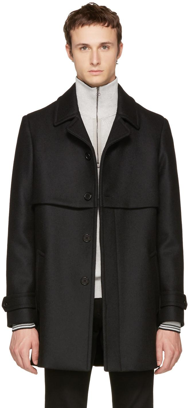 Saint Laurent Black Wool Gun Flap Coat