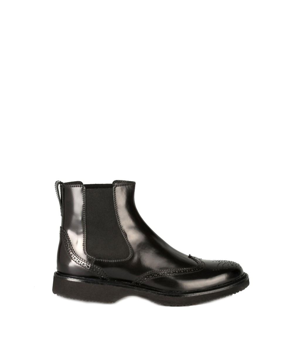 Hogan Men's  Black Leather Ankle Boots