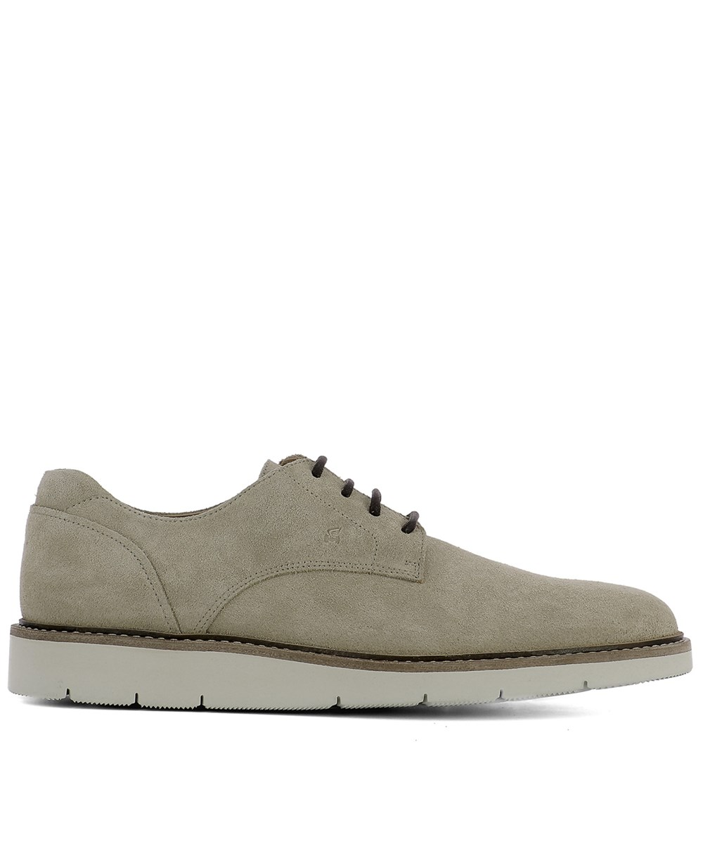 Hogan Men's  Beige Suede Lace-up Shoes In Brown