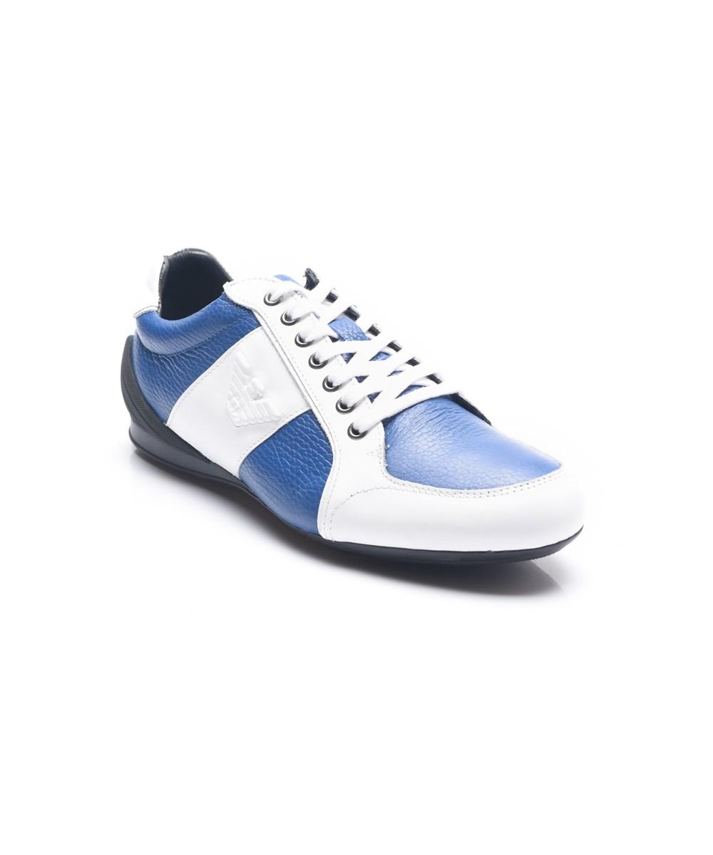 Emporio Armani Men's Leather Ga Logo Sneakers Shoes White/blue