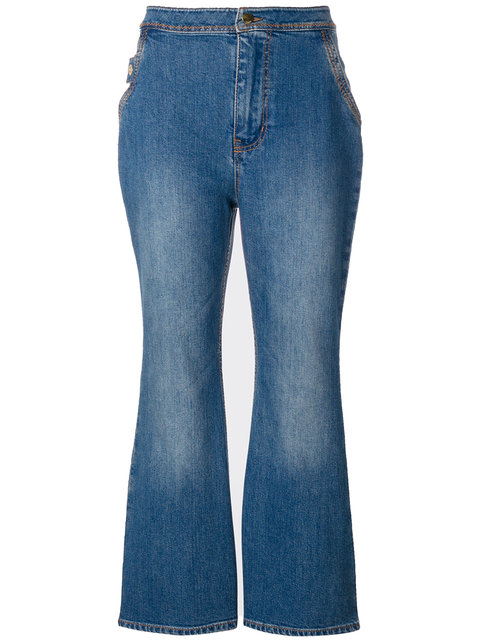 Ellery Cropped Flared Jeans - Blue