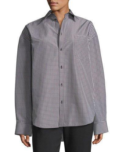 Balenciaga Check-print Taffeta Jacket, Brown/white