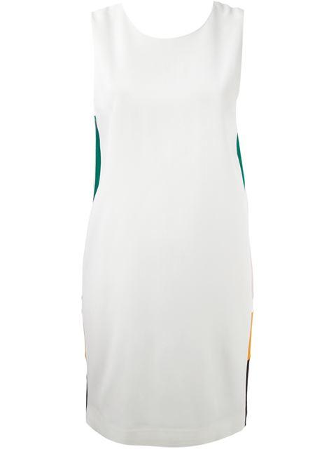 Msgm Side Colour Block Dress In White