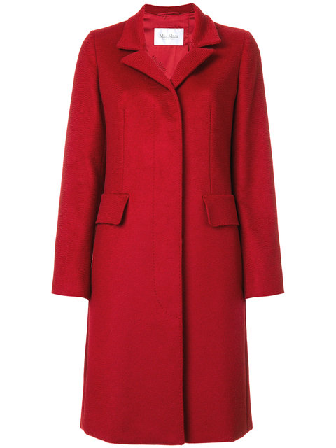 Max Mara Textured Camel Hair Coat In Red