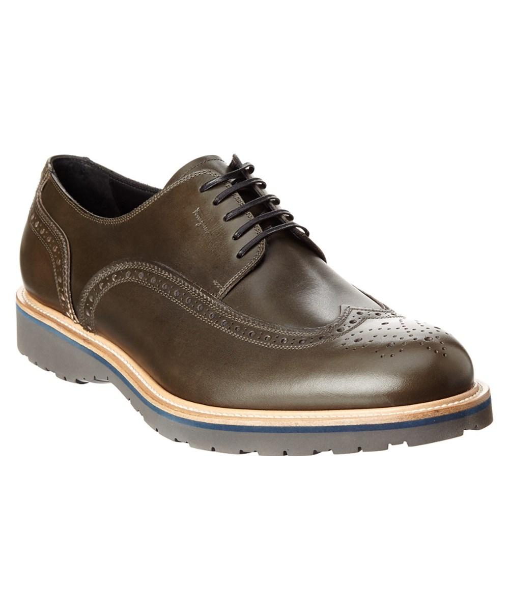 Salvatore Ferragamo Fuerte Wing Tip Leather Derby Shoe In Musk