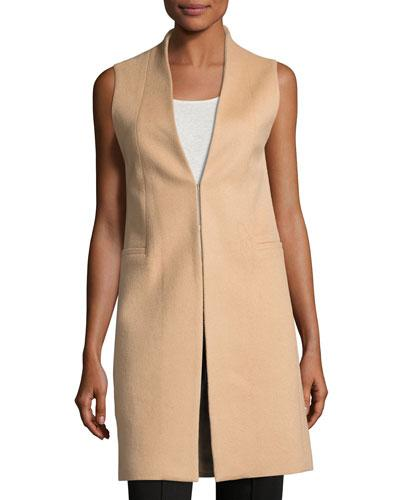 Alice And Olivia Flynn Seamed Wool-blend Vest In Camel