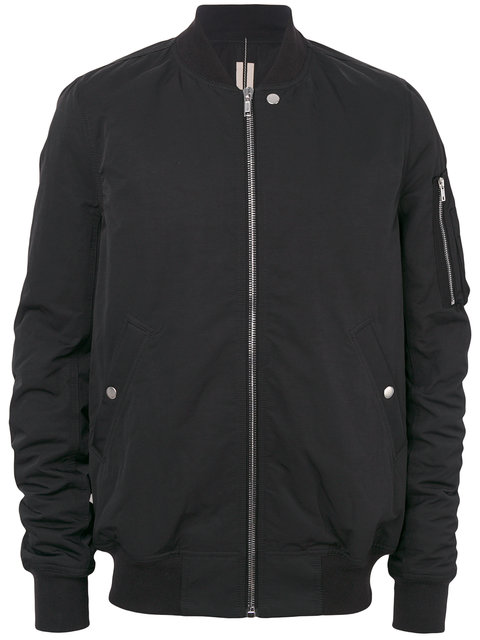 Rick Owens Drkshdw Black Cotton And Nylon Flight Jacket