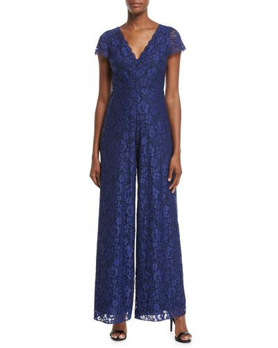 Alice And Olivia Mariam V-neck Wide-leg Lace Jumpsuit In Blue