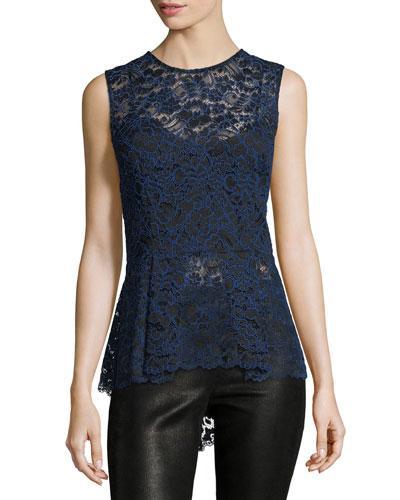 Veronica Beard Corded Lace Back-zip Sleeveless Peplum Blouse In Black/blue