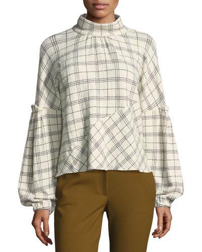 Tibi Mock-neck Pouf-sleeve Check Wool-blend Top In Multi