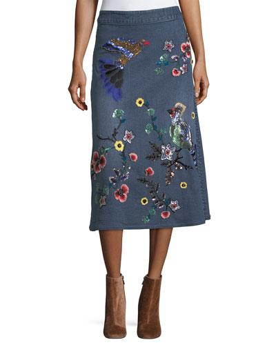 Alice And Olivia 'libbie' Bird And Flower Embellished A-line Denim Midi Skirt In Multi