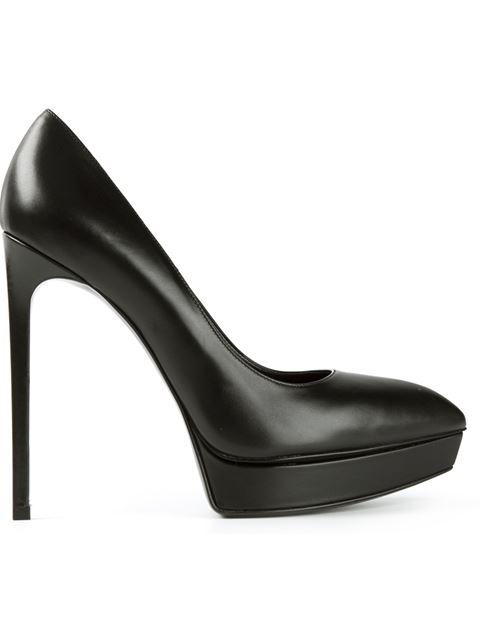 Saint Laurent Black Leather 'Janis 80' Island Platform Stiletto Pumps'