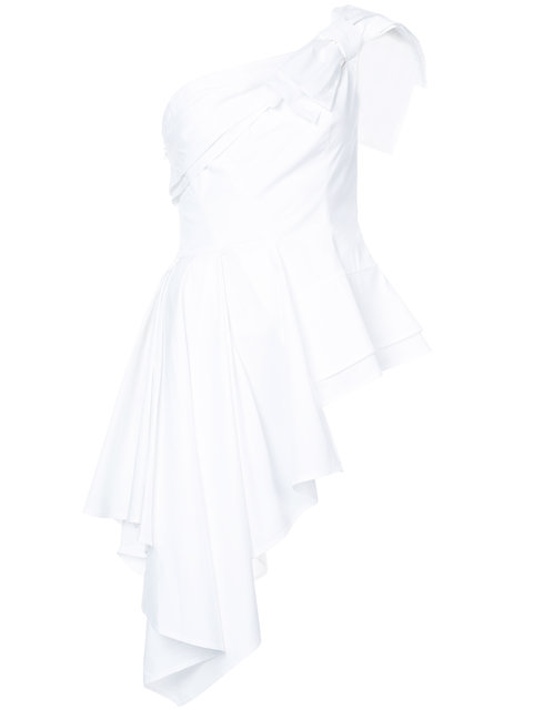 Carolina Herrera Asymmetric One Shoulder Blouse - White