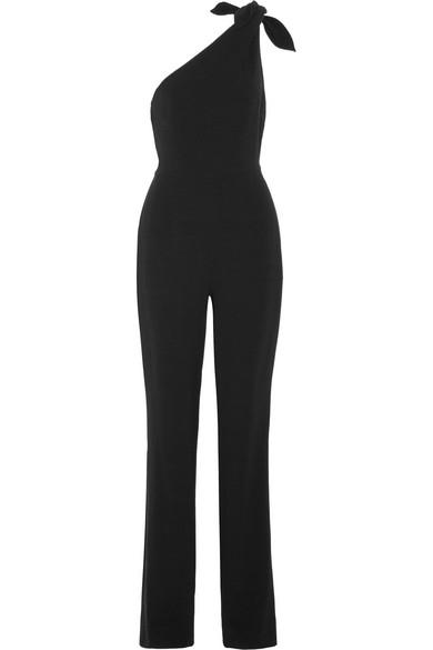 Diane Von Furstenberg One-shoulder Knot Sleeveless Straight-leg Crepe Jumpsuit In Black
