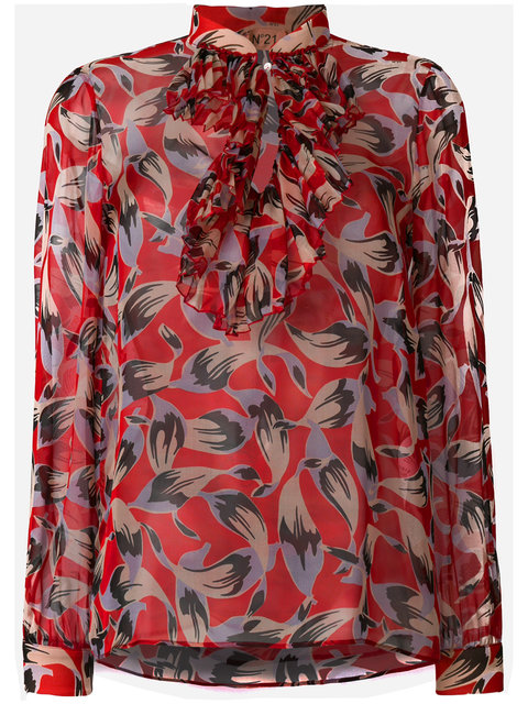 N°21 N 21 Pussy Bow Floral Blouse In Red - Multicolor