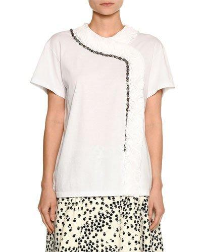 N°21 Short-sleeve Asymmetric Trim Cotton Tee In White