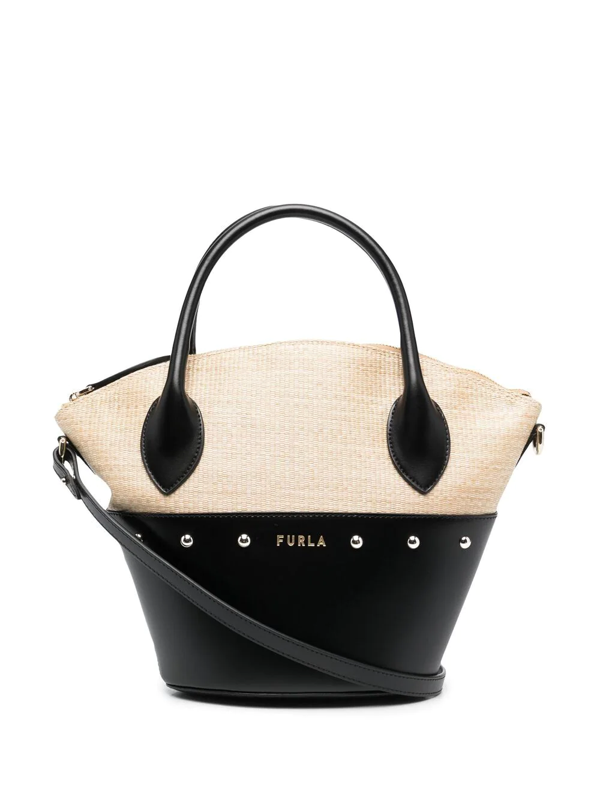 Furla Straw-panel Leather Tote Bag In Neutrals