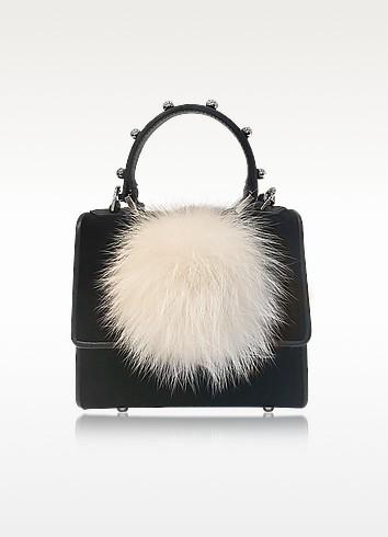 Les Petits Joueurs Mini Alex Bunny Spheres Patent Leather Satchel Bag In Black