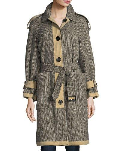 Burberry Reversible Donegal Tweed And Gabardine Trench Coat In Black