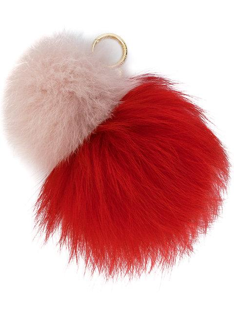 Michael Michael Kors Fox Fur Keyring In Red