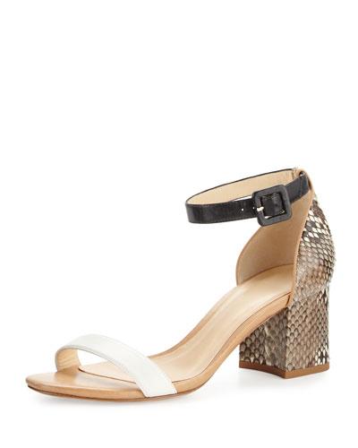 Alexandre Birman Judy Python/calfskin Block-heel D'orsay Sandal, Black/white/tan