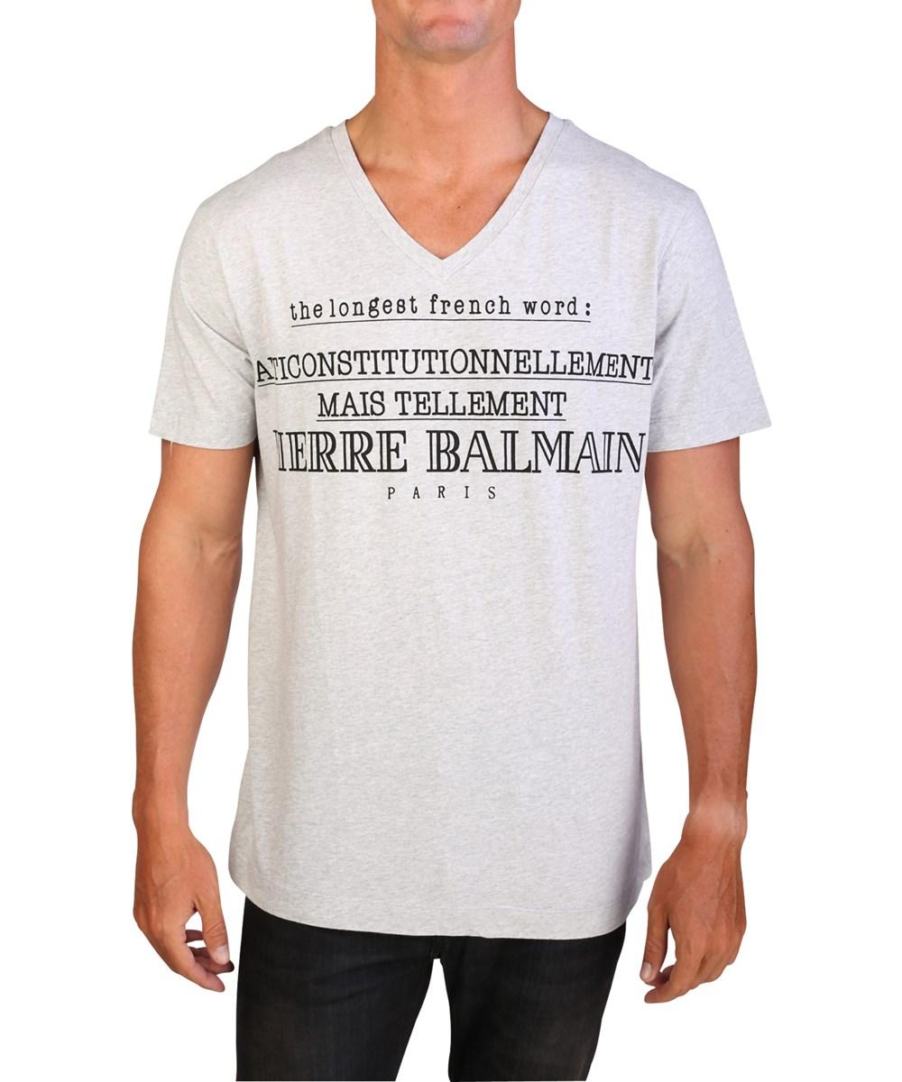 Pierre Balmain Men's Word Graphic Logo V-neck T-shirt Grey