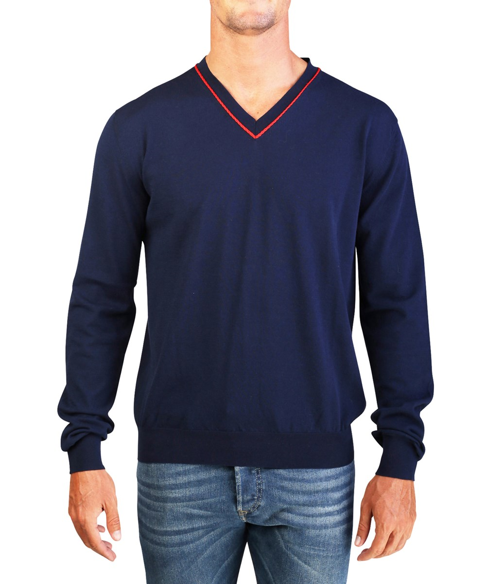 Dior Homme Men's Cotton V-neck Knit Sweater Navy In Blue