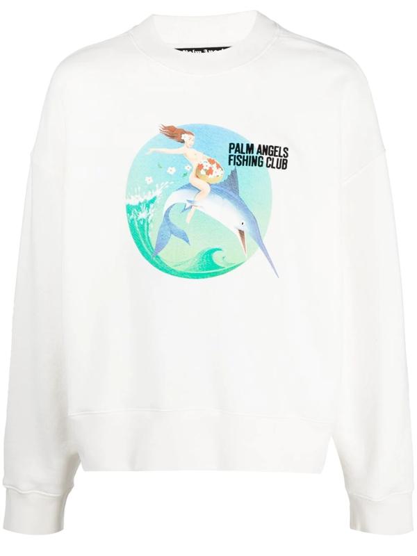 Palm Angels Fishing Club Cotton Jersey Sweatshirt In White